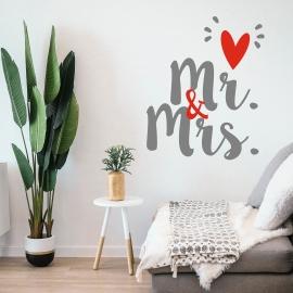Vinilo 'Mr & Mrs'. Adhesivo decoración