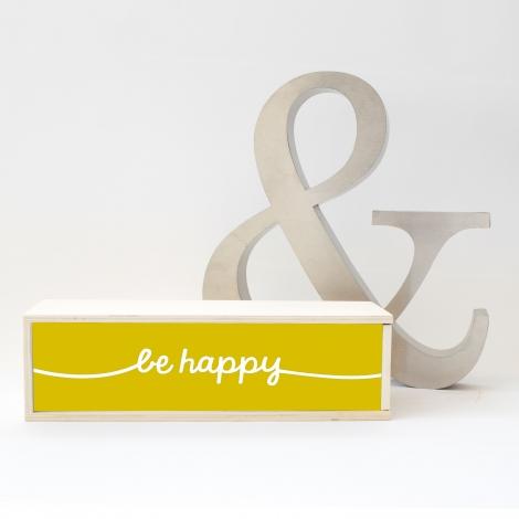 Caja de luz 'Be Happy'. Lámpara madera 'Be Happy'